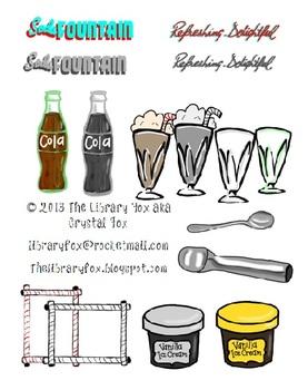 Soda Fountain Clip Art with Blacklines