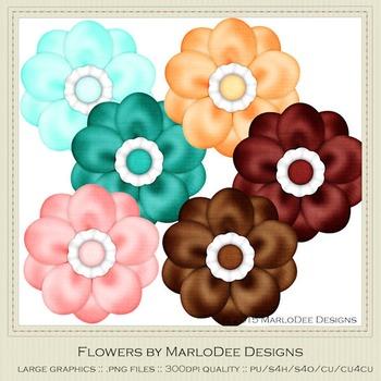 Soda Fountain Colors Digital Flower Graphics
