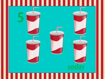 Soda Shop Counting to 10 PowerPoint Fun Numbers, Words, & Pictures (Colorful)
