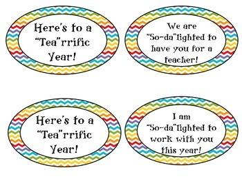 Soda or Tea Teacher, Staff, Para, Secretary Appreciation Tags FREEBIE