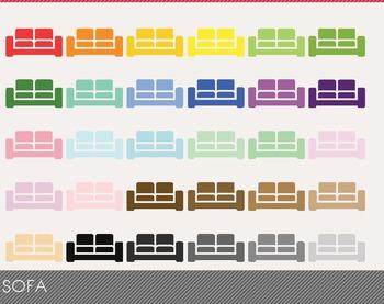 Sofa Digital Clipart, Sofa Graphics, Sofa PNG, Rainbow Sofa Digital Files