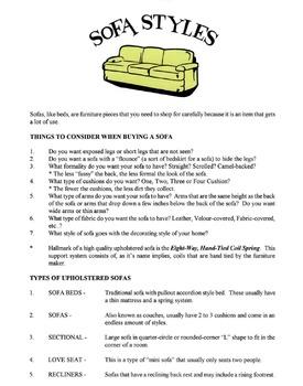 Sofa Styles Lesson