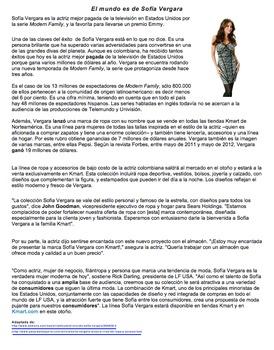 Sofia Vergara: Authentic Reading Comprehension Assessment