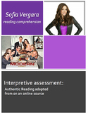 Sofia Vergara: Authentic Reading Comprehension Assessment
