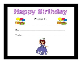 Sofia the First Birthday Certificates (Includes 4 Certificates)