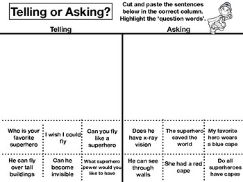 Sofie's Tell Me or Ask Me Sentence Activities
