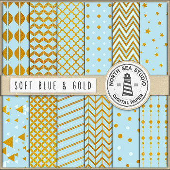 Soft Blue And Gold Digital Paper