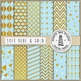 Soft Blue And Gold Digital Paper, Blue Backgrounds, Gold Patterns