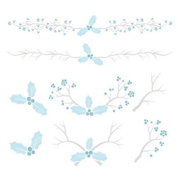 Soft Blue Christmas Holly Clipart