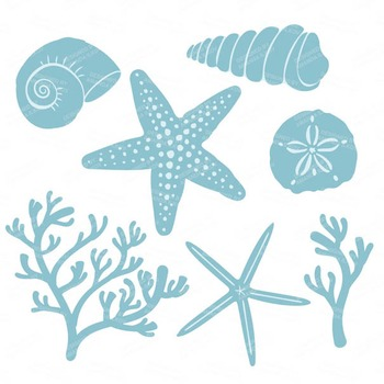 Soft Blue Coral & Seashells Clipart