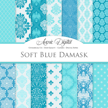 Soft Blue Damask Digital Paper patterns ornate scrapbook background