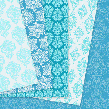 28 Soft Blue Damask Digital Paper patterns ornate scrapbook background