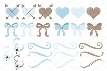 Soft Blue Floral Bicycle Vectors - Flower Clipart, Peonies Clip Art, Poppies