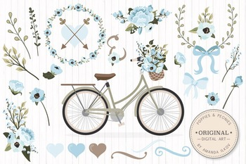 Soft Blue Floral Bicycle Vectors - Flower Clipart, Peonies