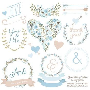 Soft Blue Floral Heart Clipart