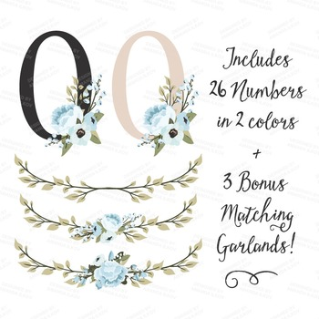 Soft Blue Floral Numbers With Vectors - Flower Clip Art, Peonies Clipart