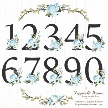 Soft Blue Floral Numbers With Vectors - Flower Clip Art, P