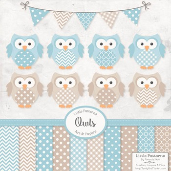 Soft Blue Vector Owls & Papers - Baby Owl Clipart, Owl Clip Art, Baby Owls