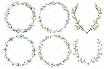 Soft Blue Wedding Floral Clipart & Vectors - Flower Clip Art, Banners