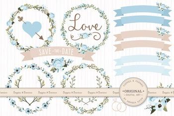 Soft Blue Wedding Floral Clipart & Vectors - Flower Clip A