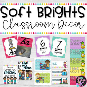 Rainbow Soft Brights Classroom Decor Bundle