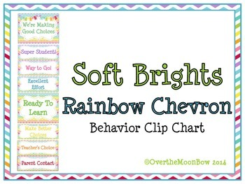 Soft Brights Rainbow Chevron Behavior Clip Chart