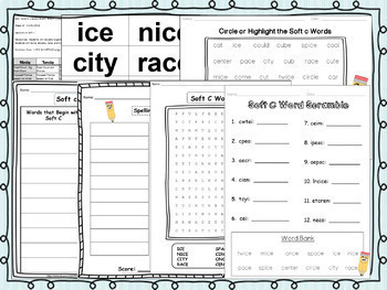 Soft C & Soft G Pack! 2 Weeks of Lesson Plans, Activities, and Word Work!