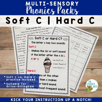 Soft C Hard C Word Work Multisensory Phonics Activities
