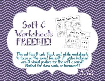 Soft C Phonics Worksheets Freebie!!