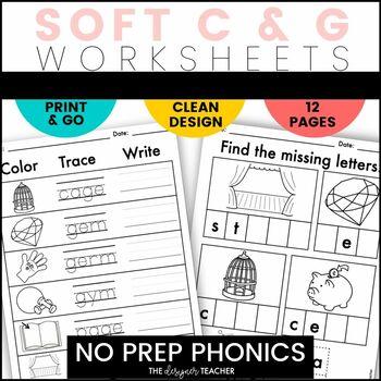 NO PREP Print & Go Soft C & G Word Work