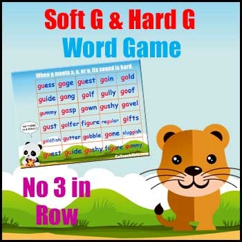 No Three in a Row Word Game -  focuses on Soft G & Hard G Sounds