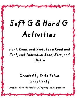 Soft G, Hard G Word Sort and Read the Room!!!