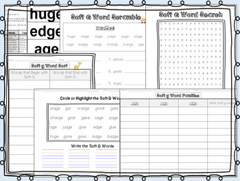 Soft G Pack - A Full Week of Lesson Plans, Activities, and Word Work!