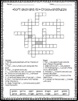 Soft G and Hard G Crossword Puzzle