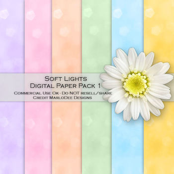 Soft Lights Bokeh Pattern A4 size Digital Papers