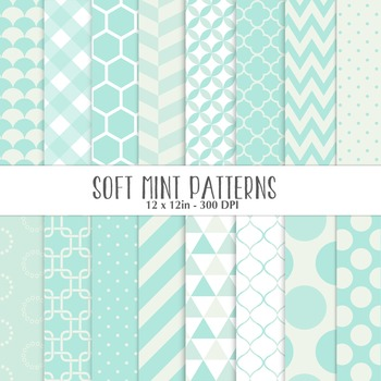 Soft Mint Patterns - Geometrical Backgrounds
