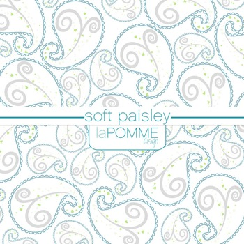 Soft Paisley Gray & Blue Digital Paper