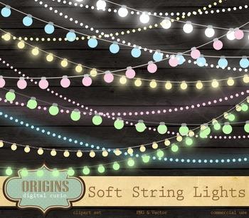 Soft Pastel String Lights Vector Clipart