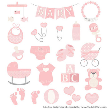 Oh Baby Clipart & Vectors Set in Soft Pink