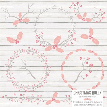 Soft Pink Christmas Holly Clipart