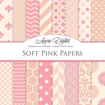 Soft Pink Digital Paper patterns - bright color scrapbook backgrounds