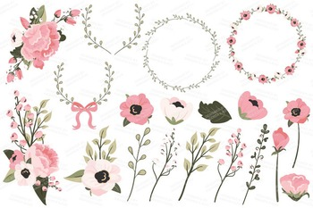 Soft Pink Floral Bicycle Vectors - Flower Clipart, Peonies Clip Art, Poppies