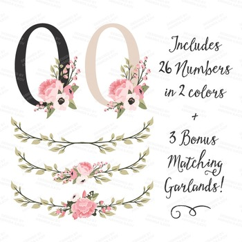 Soft Pink Floral Number Vectors - Flower Clip Art, Peonies Clipart, Poppies