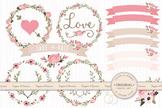 Soft Pink Wedding Floral Clipart & Vectors - Flower Clip Art, Banners