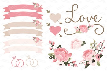 Soft Pink Wedding Floral Clipart & Vectors - Flower Clip Art, Banners