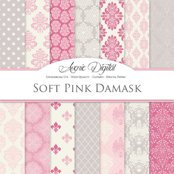 Soft Pink and grey Damask Digital Paper patterns girly scr