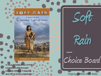 Soft Rain by Cornelissen Choice Board Tic Tac Toe Novel Activities Assessment