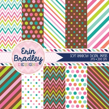 Soft Rainbow Digital Papers