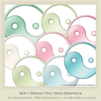 Soft Spring Colors Ying Yang Graphics by MarloDee Designs