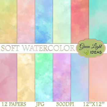 Soft Watercolor Digital Papers / Watercolor Backgrounds